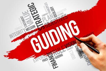 guiding: Guiding word cloud, business concept Stock Photo