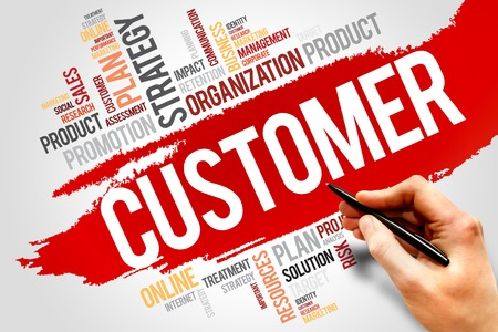 underestimate: CUSTOMER word cloud, business concept Stock Photo