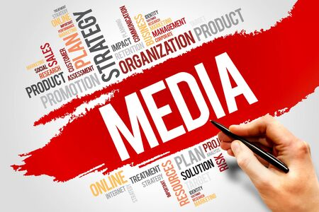 viral marketing: MEDIA word cloud, business concept