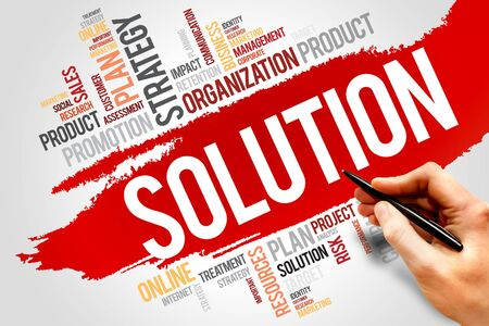 solution: SOLUTION word cloud, business concept Stock Photo