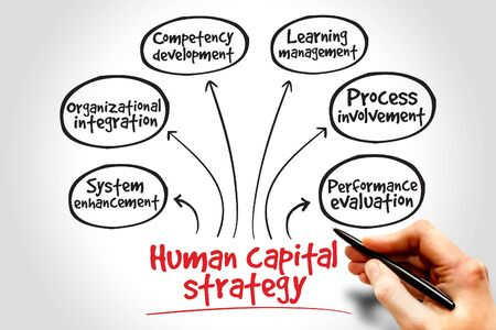 human capital: Human capital strategy mind map, business concept Stock Photo