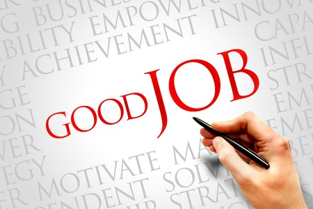 kudos: Good Job word cloud, business concept Stock Photo