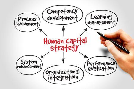 capital humano: Estrategia de capital humano mapa mental, concepto de negocio