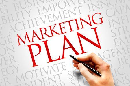 plan: Marketing Plan word cloud, business concept Stock Photo