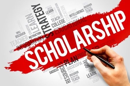 Scholarship word cloud, education concept