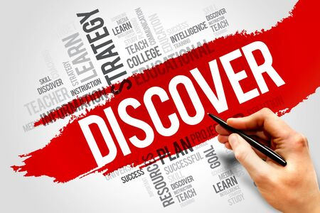 discover: DISCOVER word cloud, education concept Stock Photo