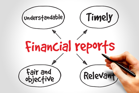 account executive: Financial reports mind map, business concept Stock Photo