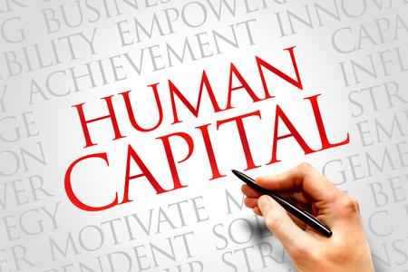 capital humano: Humano palabra de capital nube, concepto de negocio Foto de archivo