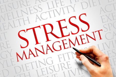 involves: Stress Management word cloud, health concept Stock Photo