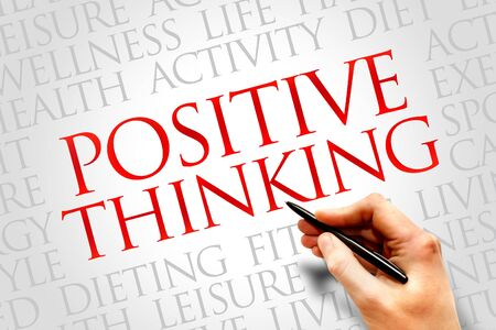 Positive thinking word cloud, health concept photo