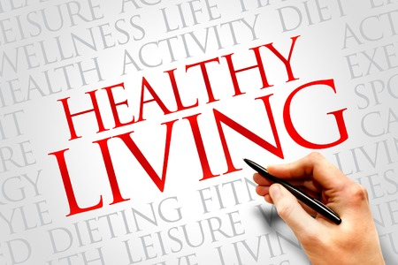 Healthy Living word cloud, health concept photo