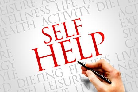 self help: Self Help word cloud, health concept Stock Photo
