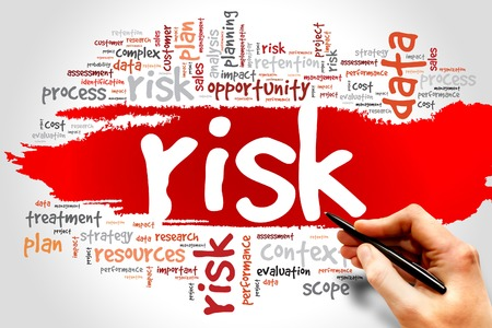 investing risk: Word Cloud with RISK related tags, business concept