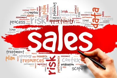 cohesive: Word Cloud with Sales related tags, business concept Stock Photo
