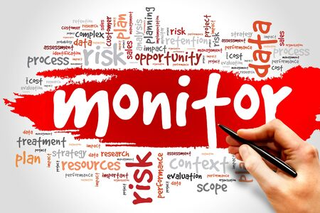 teaming: Word cloud of MONITOR related items, presentation background Stock Photo