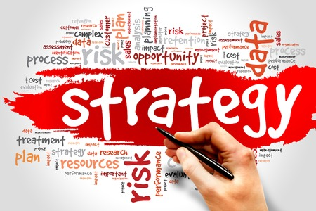business words: Strategy word cloud, business concept Stock Photo