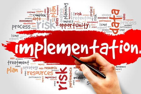 implementaci�n: Implementation word cloud, business concept Foto de archivo