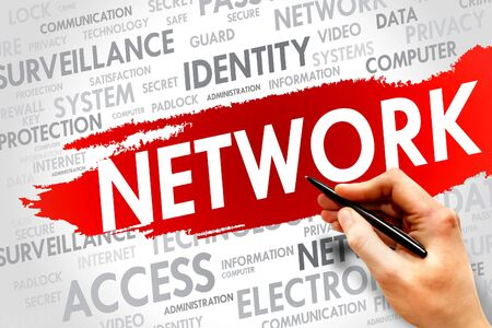 adware: NETWORK word cloud, business concept Stock Photo