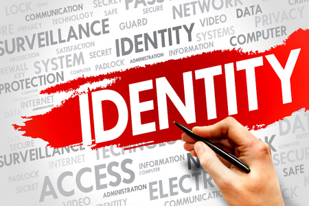 authorisation: IDENTITY word cloud, security concept Stock Photo