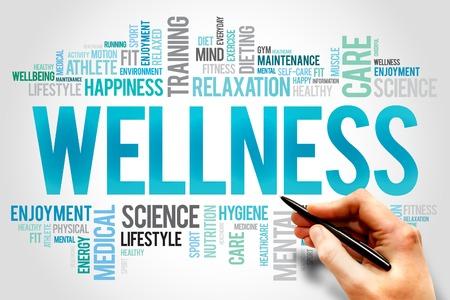 vida saludable: BIENESTAR nube de palabras, fitness, deporte, concepto de salud Foto de archivo