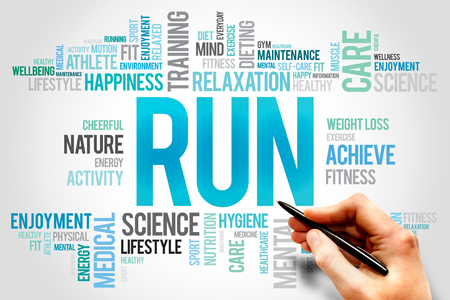 destress: RUN word cloud, fitness, sport, health concept Stock Photo