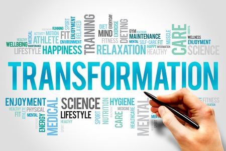 diet: TRANSFORMATION word cloud, fitness, sport, health concept Stock Photo
