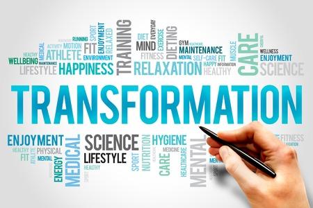 TRANSFORMATION Wortwolke, Fitness, Sport, Gesundheit Konzept Lizenzfreie Bilder