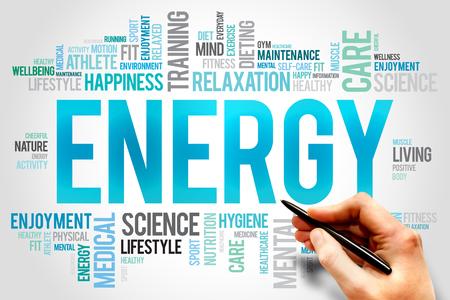destress: ENERGY word cloud, fitness, sport, health concept