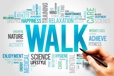 health collage: WALK word cloud, fitness, sport, health concept