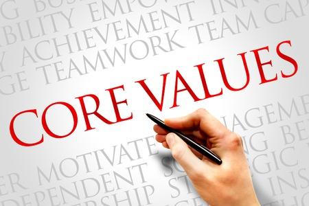 mision: Valores fundamentales palabra nube, concepto de negocio Foto de archivo
