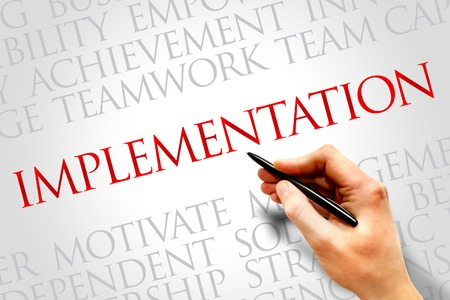 Implementation word cloud, business concept Foto de archivo
