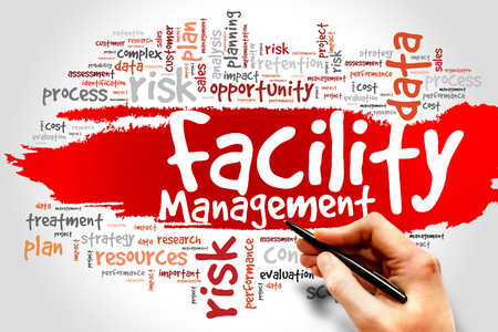renovation property: Facility Management word cloud concept Stock Photo