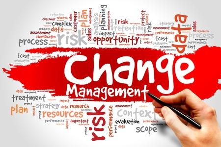 変更管理の単語の雲、ビジネス コンセプト 写真素材