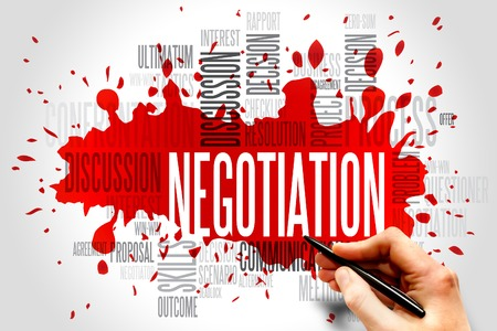 negotiation business: Negotiation words cloud business concept Stock Photo