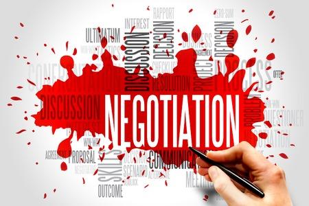 negociacion: Palabras negociación nube concepto de negocio Foto de archivo