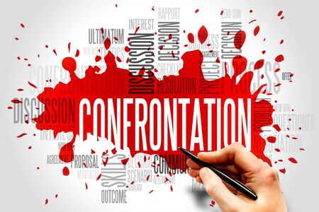 Confrontation word cloud, business concept Stock Photo