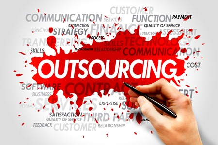 Outsourcing word cloud, business concept