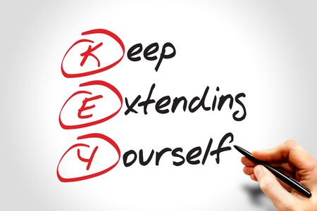 extending: KEY - keep extending yourself, acronym business concept