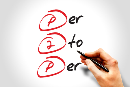 Hand writing P2P - Per to Per, acronym business concept