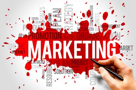 マーケティングの単語の雲、ビジネス コンセプト