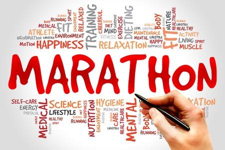 swim race: MARATHON word cloud, fitness, sport, health concept Stock Photo