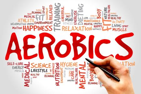 gimnasia aerobica: Aerobic nube de palabras, el concepto de salud Foto de archivo
