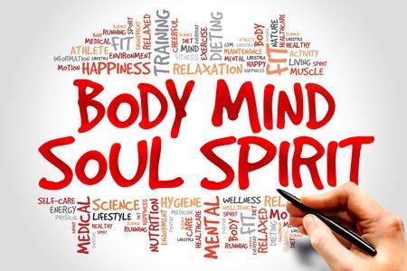 Body Mind Soul Spirit woordwolk, gezondheidsconcept