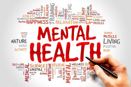 vida social: Mental palabra salud nube, concepto de salud