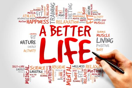 better: A Better Life word cloud, health concept Stock Photo