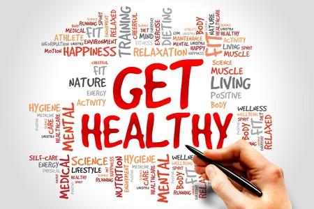 buena salud: Get Healthy nube de palabras, el concepto de salud Foto de archivo