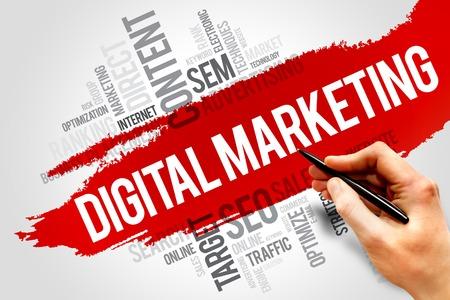 Digital Marketing nuage de mot, concept d'entreprise Banque d'images