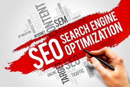SEO (Search Engine Optimization) Wortwolke Geschäftskonzept Lizenzfreie Bilder
