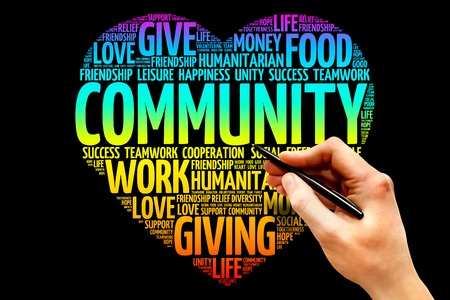 service icon: Community word cloud, heart concept