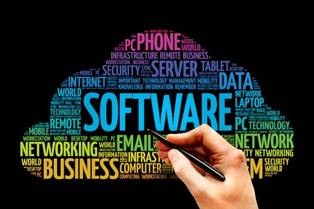Software word cloud, business concept 스톡 콘텐츠